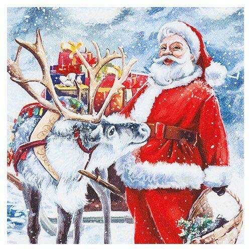HOME FASHION Serviette 'Santa mit Rentier'