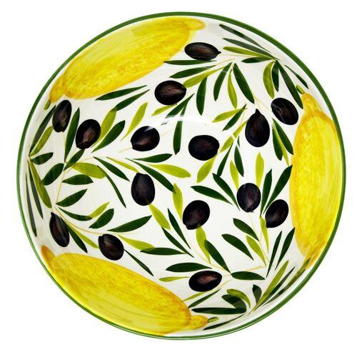 Lashuma Salatschüssel »Zitrone Olive«, Keramik, Runde Keramikschüssel, Servierschale Ø 26 cm