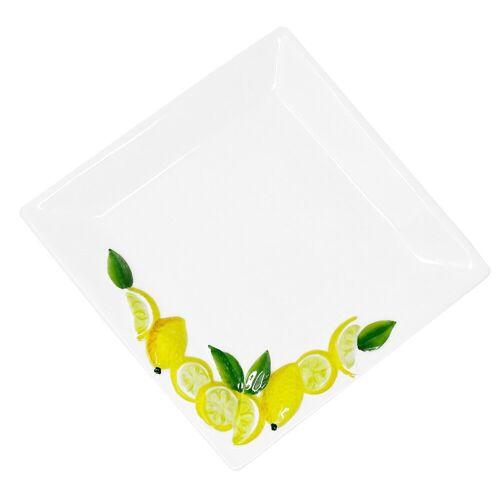 Lashuma Servierteller »Zitrone«, Keramik, Pastateller quadratisch, Servierplatte 19x19 cm