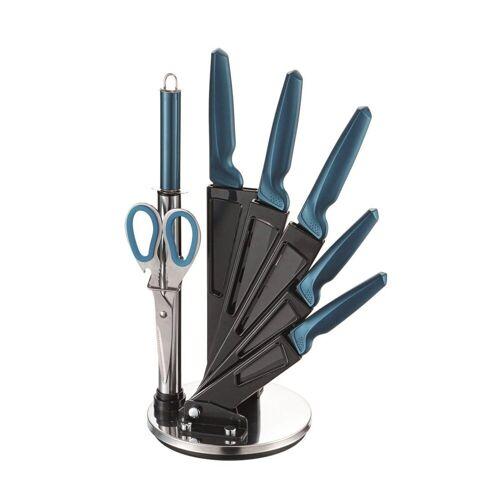 Michelino Messer-Set »Messer-Set 8-teilig inkl. Acrylständer« (Messer-Set, 8-tlg), antihaft beschichtet, Petrol