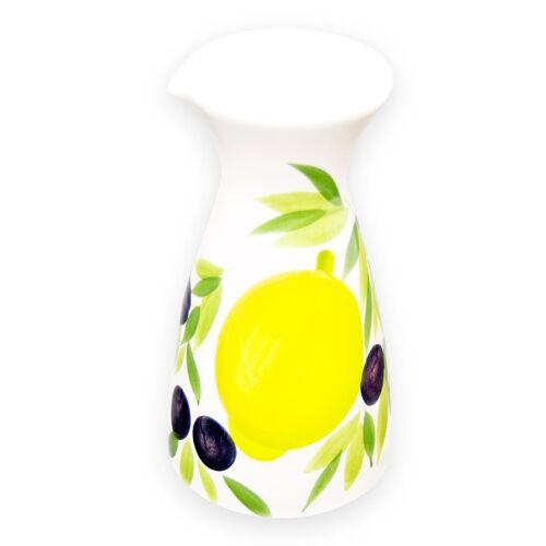 Lashuma Karaffe »Zitrone Olive«, (1-tlg), Keramikkaraffe Italienisch, Wasserkaraffe 19x10 cm