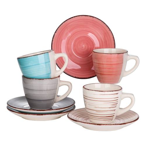 vancasso Tafelservice »Bella« (8-tlg), Steingut, 8 tlg. Kaffeeservice mit Tasse und Untertasse, MIX(BG, GY, P, T)