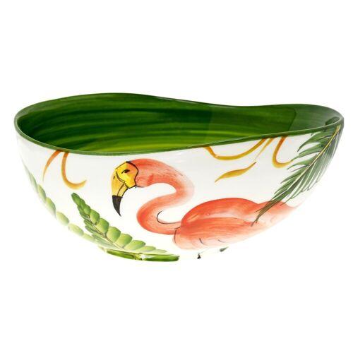 Lashuma Servierschüssel »Flamingo«, Keramik, (1-tlg), Runde Keramikschale, Salatschüssel Ø 24 cm