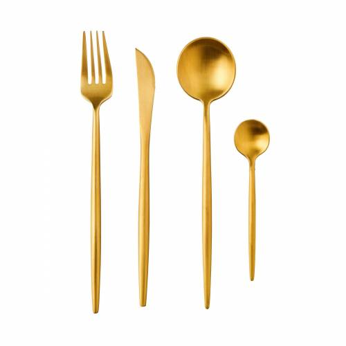 BUTLERS Besteck-Set »STILETTO Besteck 4er-Set matt«, Gold