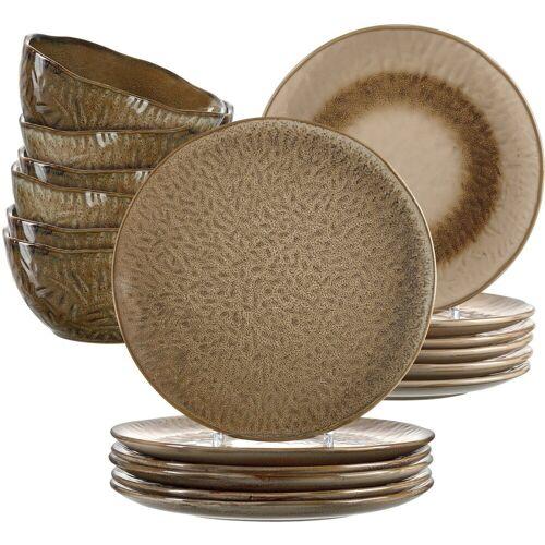 LEONARDO Geschirr-Set »Matera« (18-tlg), Keramik, rustikaler Look, braun