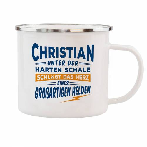 HTI-Living Becher »Echter Kerl Emaille Becher Christian«