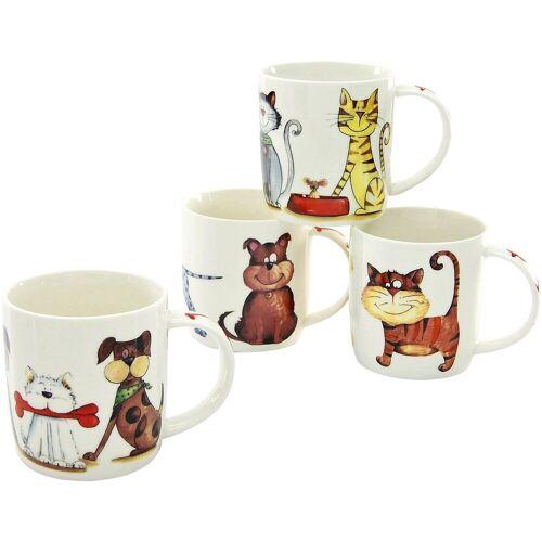 CreaTable Becher »Cats & Dogs« (4-tlg), New Bone China Porzellan, lustige Vierbeiner als Motiv