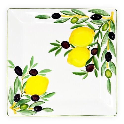 Lashuma Servierplatte »Zitrone Olive«, Keramik, Eckige Fleischplatte, Servierteller 27x27 cm