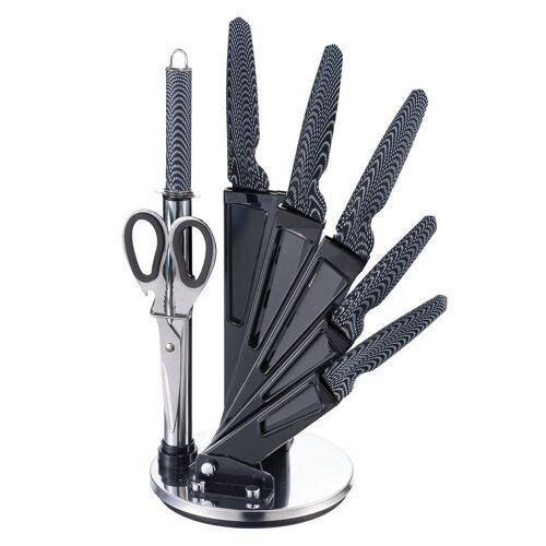 Michelino Messer-Set »8-teiliges Profi Messer-Set Messerblock sehr hochwertiges SelbstschärfenMesser Küchenmesser Set Kochmesser« (8-tlg), Carbon