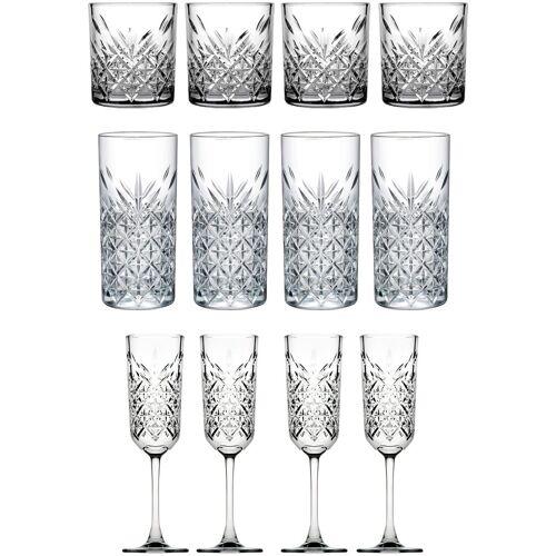 van Well Gläser-Set »Timeless« (12-tlg), Strukturglas