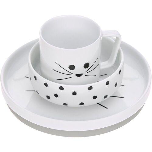 Lässig Kindergeschirr-Set »Kindergeschirr Porzellan Kätzchen, grau, 3-tlg.«, weiß