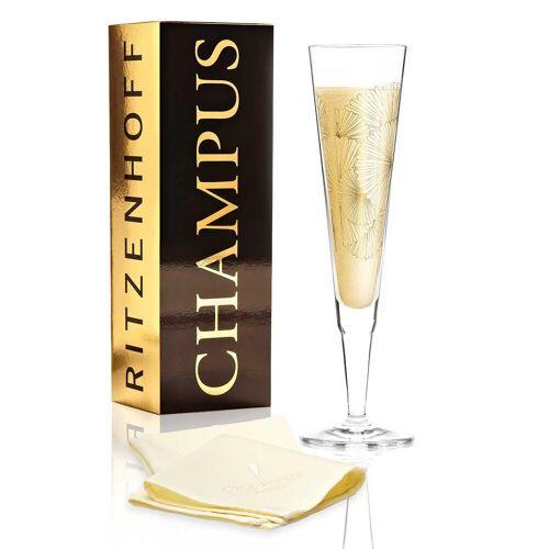 Ritzenhoff Champagnerglas »CHAMPUS GOLDEN FANS 2020 Champagnerglas« (1-tlg), Glas