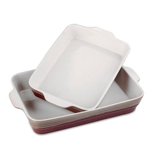 LOVECASA Auflaufform, Ofenformen aus Steinzeug, (2-St), 2-teilig rechteckig Tarteform, rot und grau
