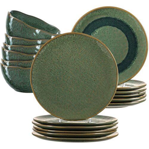 LEONARDO Geschirr-Set »Matera« (18-tlg), Keramik, rustikaler Look, grün