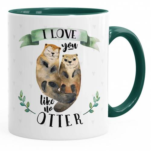 MoonWorks Tasse »Kaffee-Tasse Otter Pärchen I love you like no otter Geschenk Liebe Spruch Kaffeetasse Teetasse Keramiktasse ®«, Keramik, grün