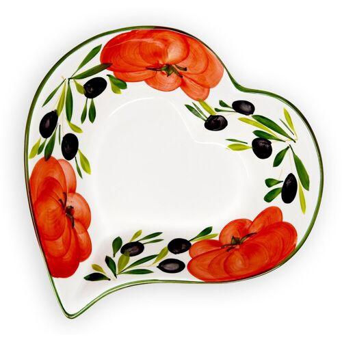 Lashuma Obstschale »Tomate Olive«, Keramik, (Packung, 1-tlg), Große Schüssel Keramik, Servierschale 27x28 cm