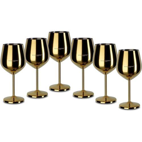 ECHTWERK Weinglas (6-tlg), Edelstahl, PVD Beschichtung, goldfarben