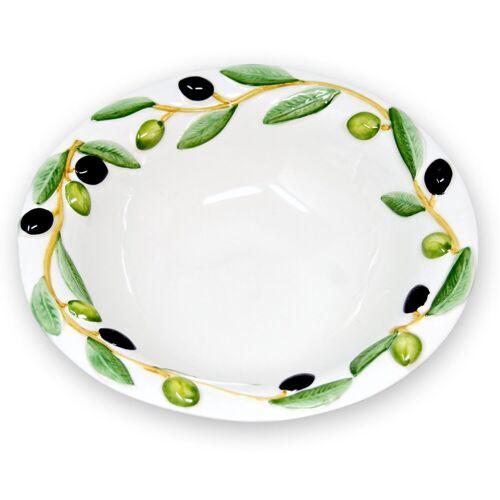 Lashuma Müslischüssel »Olive«, Keramik, (Packung, 1-tlg), Servierschüssel Rund, Keramikschale Ø 26 cm