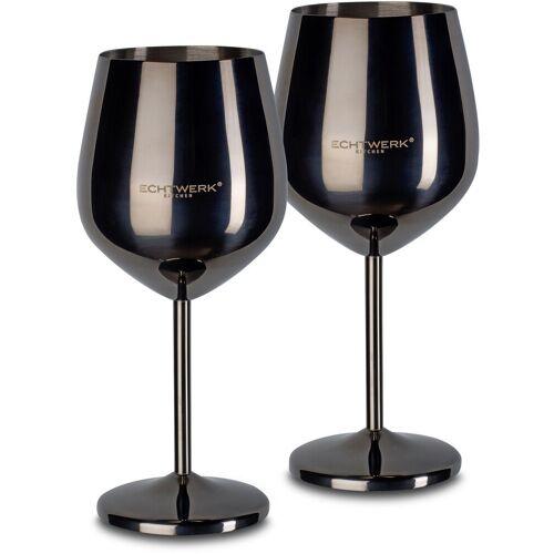 ECHTWERK Weinglas (2-tlg), Edelstahl, PVD Beschichtung, schwarz