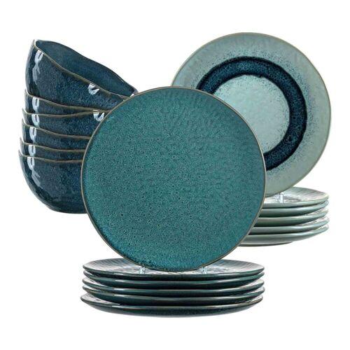 LEONARDO Geschirr-Set »MATERA Geschirr Tafelservice blau 18-teilig« (18-tlg), Keramik