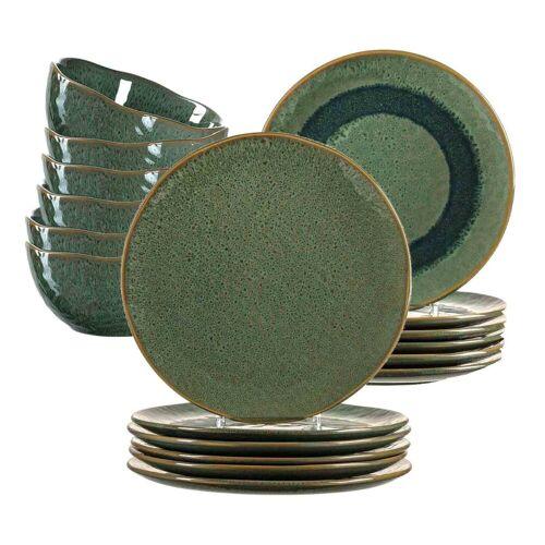 LEONARDO Geschirr-Set »MATERA Geschirr Tafelservice grün18-teilig« (18-tlg), Keramik
