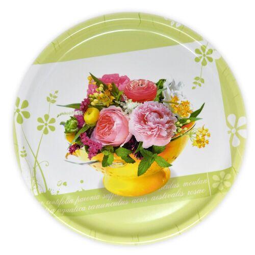 Lashuma Tablett »Blumenstrauß«, Melamin, Serviertablett bedruckt, Geschirrtablett Ø 40 cm