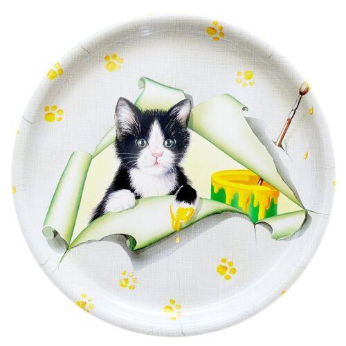 Lashuma Tablett »Katze«, Melamin, (1-tlg), Küchentablett rund, Dekotablett 40 cm