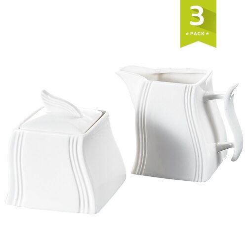 MALACASA Milch- und Zuckerset »FLORA« (3-tlg), Porzellan, Milch- und Zuckerset aus Porzellan