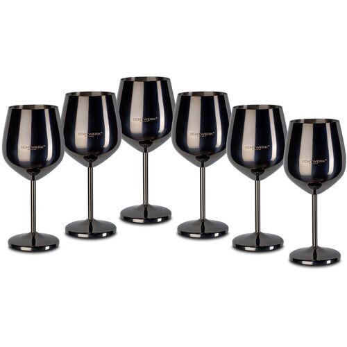 ECHTWERK Weinglas (6-tlg), Edelstahl, PVD Beschichtung, schwarz