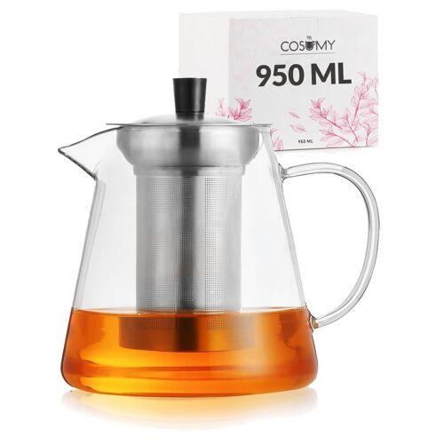 Cosumy Teekanne »Teekanne 950 ml mit Filter«, 0,95 l, (Teekanne mit Siebeinsatz und Untersetzer), mit Siebeinsatz 950ml inkl. Untersetzer - Spülmaschinenfest - Hitzebeständig