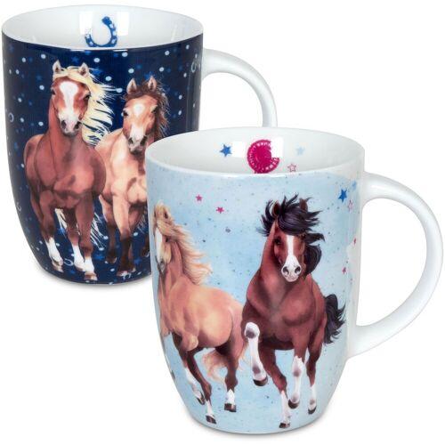 Könitz Becher »Pferdefreunde« (2-tlg), Porzellan, 380 ml