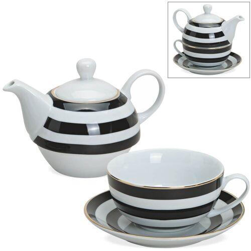 matches21 HOME & HOBBY Teekanne »Tea For One Geschenkset Streifen Goldrand«, 0.5 l