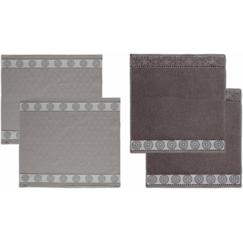 DDDDD Geschirrtuch »Lace«, (Set, 4-tlg), Combiset: 2 Küchentücher & 2 Geschirrtücher, dunkelgrau-grau