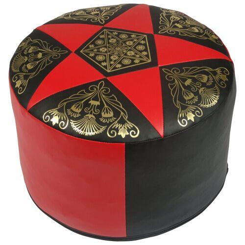 Home affaire Pouf, Sitzkissen aus hochwertigem Kunstleder, schwarz-rot