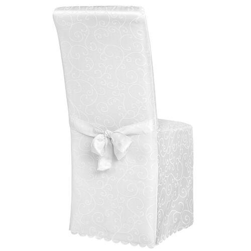 tectake Stuhlhusse »Stuhlhusse aus Polyester mit Schleife«, , weiß