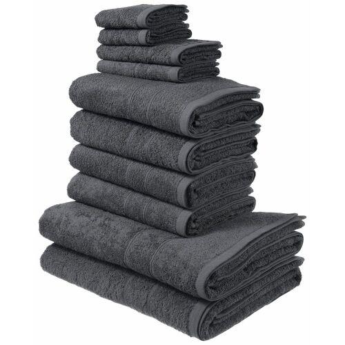 my home Handtuch Set »Inga« (Set, 10-tlg), mit feiner Bordüre, grau