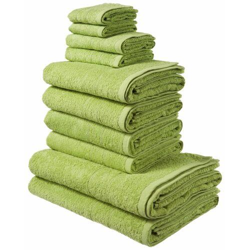my home Handtuch Set »Inga« (Set, 10-tlg), mit feiner Bordüre, grün