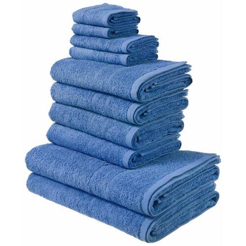 my home Handtuch Set »Inga« (Set, 10-tlg), mit feiner Bordüre, blau