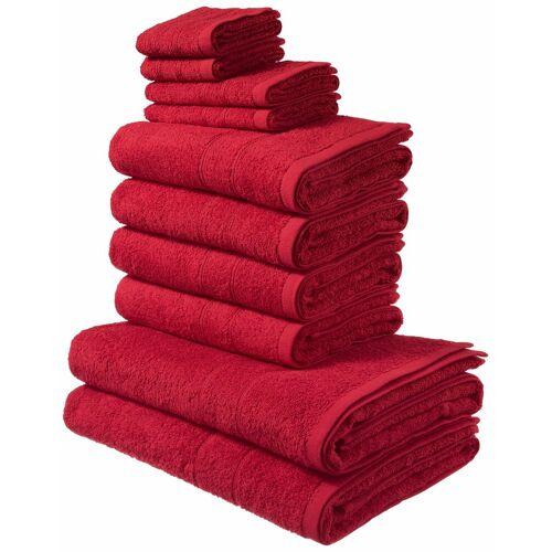 my home Handtuch Set »Inga« (Set, 10-tlg), mit feiner Bordüre, rot