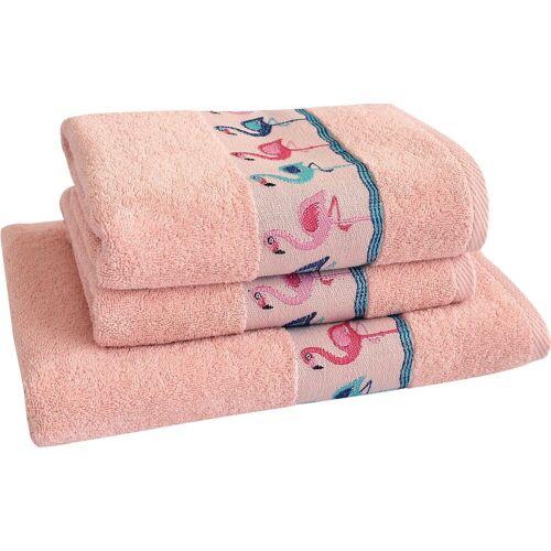 Dyckhoff Handtuch Set »Flamingos« (3-tlg), mit Flamingo Bordüre