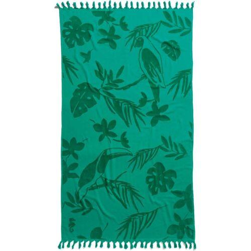 Seahorse Strandtuch »Tropical« (1-St), mit Blättern und Tukane, sea green
