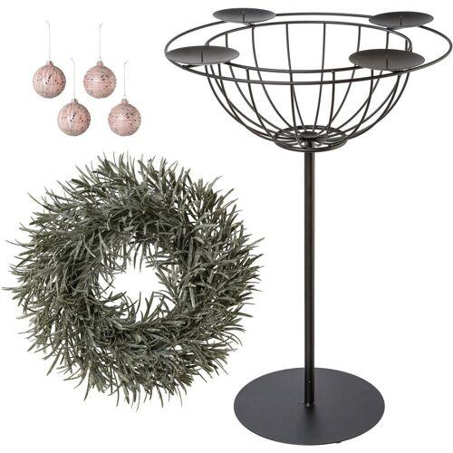 Kerzenhalter (Set, 6 Stück), Deko-Set: Adventsleuchter, Deko-Kranz und Glaskugeln