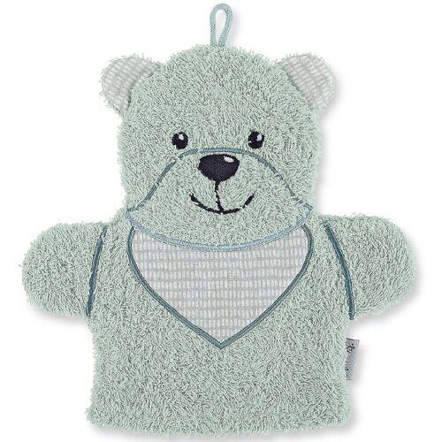Sterntaler® Waschlappen »Spiel-Waschhandschuh Hanno, grau«, grün