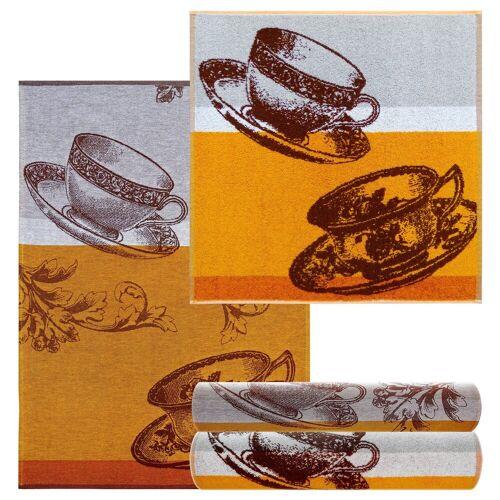 Lashuma Handtuch Set »Kaffeetasse« (4-tlg), Küchentücher Frottee 2x 50x50, Geschirrhandtücher 2x 50x70