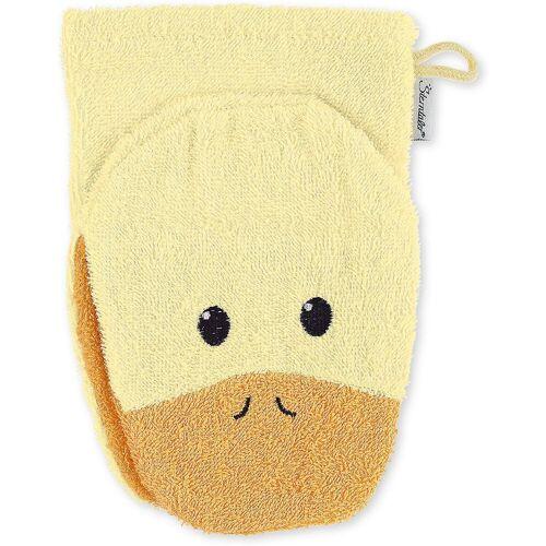 Sterntaler® Waschlappen »Spiel-Waschhandschuh Hanno, grau«, gelb