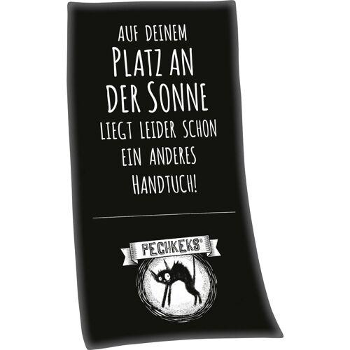 """Badetuch »Pechkeks """"Auf deinem Platz an der Sonne""""« (1-St), mit lustigem Spruch"""
