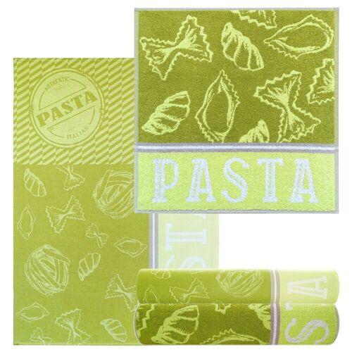 Lashuma Handtuch Set »Pasta« (4-tlg), Geschirrtücher 2x 50x70, saugstarke Küchentücher 2x 50x50