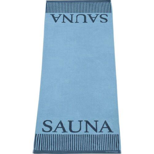 Schiesser Saunatuch »Rom« (1-St), Sauna-Aufschrift, hellblau