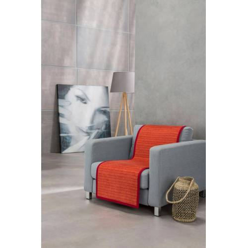 IBENA Sesselschoner »Fano« , mit modernen Streifen, rot-orange