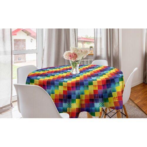 Abakuhaus Tischdecke »Kreis Tischdecke Abdeckung für Esszimmer Küche Dekoration«, Patchwork Regenbogen-Retro Patchwork